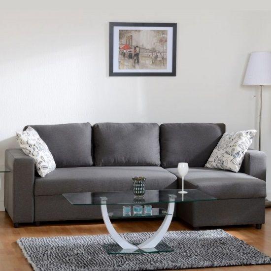 Best Dexter Corner Sofa Bed In Dark Grey Fabric With Storage 400 x 300
