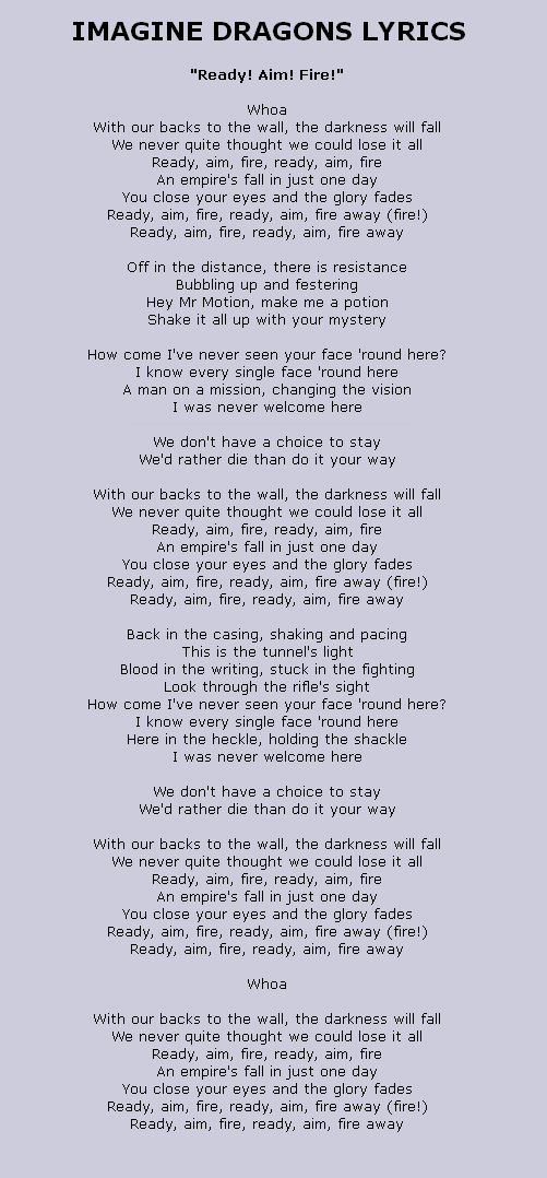 Lyrics to Ready Aim Fire by Imagine Dragons, from the Iron Man 3 ...