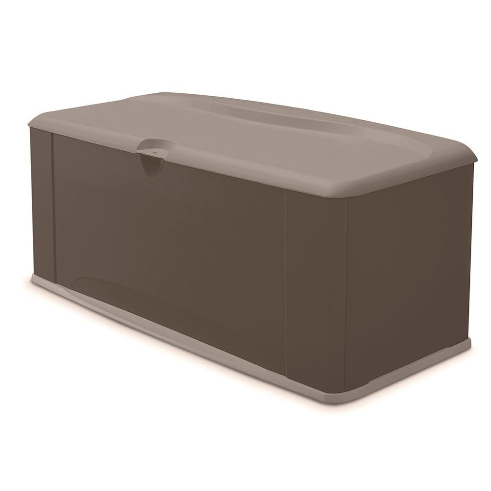 Rubbermaid 120 Gal Resin Deck Box With Seat 2047052 The Home Depot Resin Deck Box Patio Storage Deck Box Storage