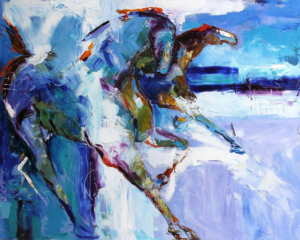 Laurie Justus Pace, Blue Mist 24X30 Oil
