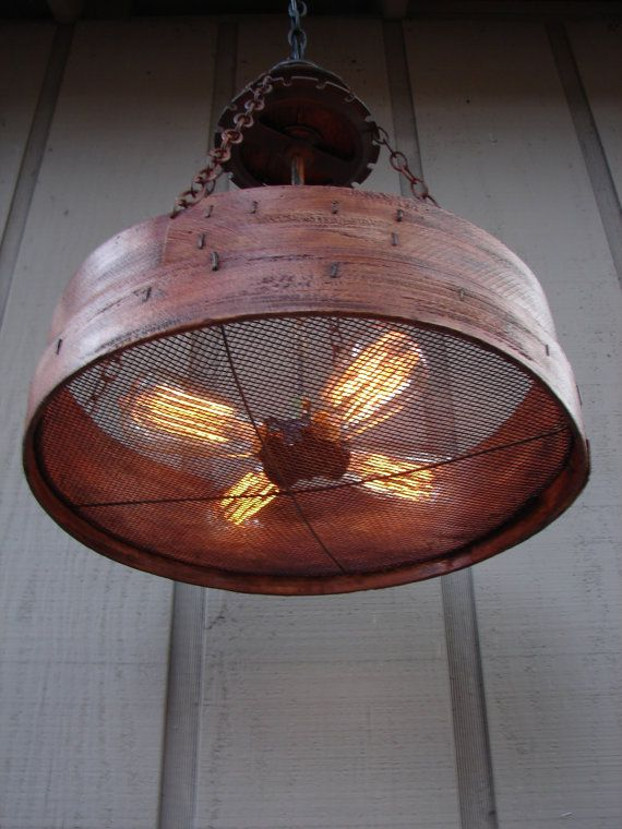 Rustic Hanging Light Upcycled Vintage Farm Sieve Rustic