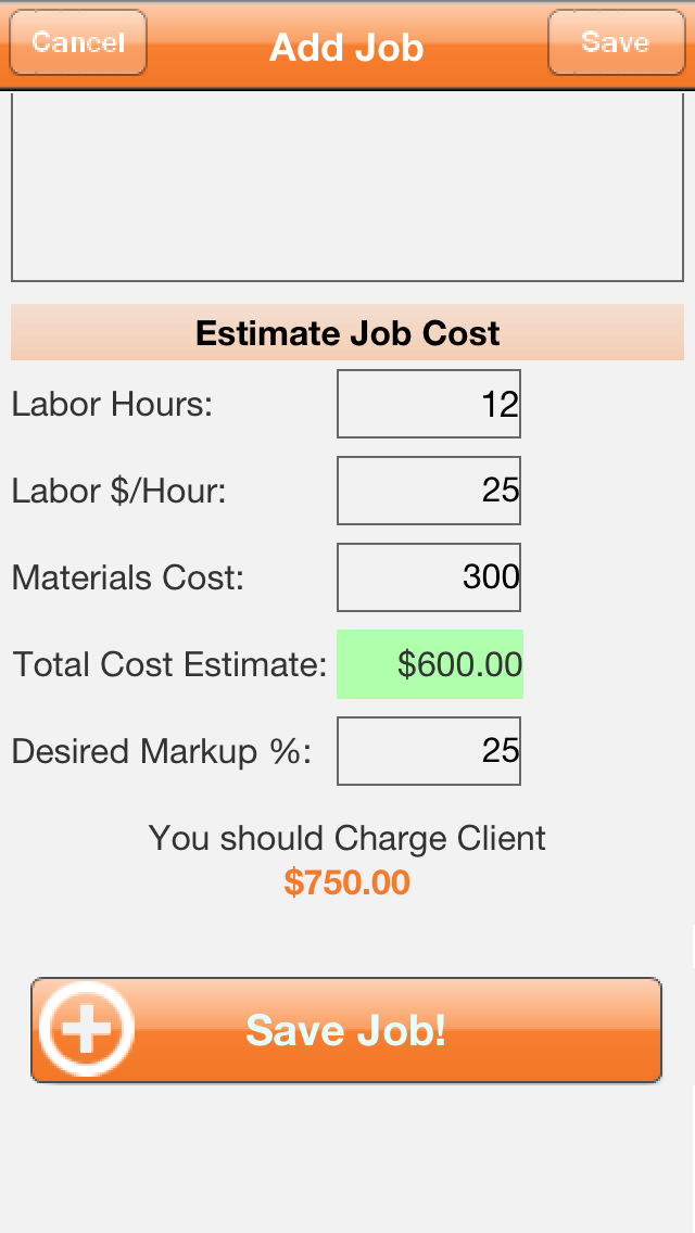 Our #iPhone #App Add Job section.  The app helps estimate correct prices to charge clients.