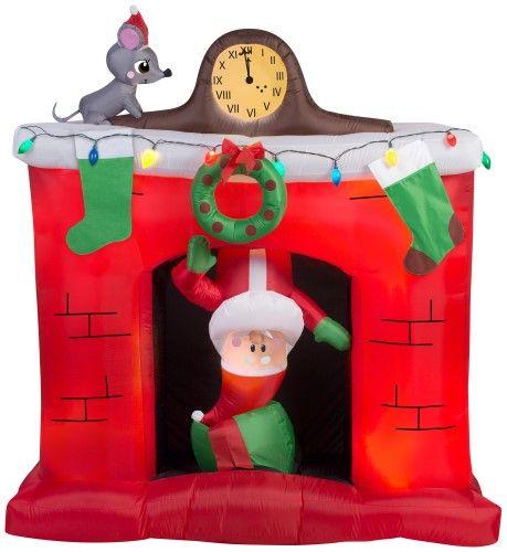 5\u0027 Animated Santa in Fireplace Scene - Christmas Inflatable