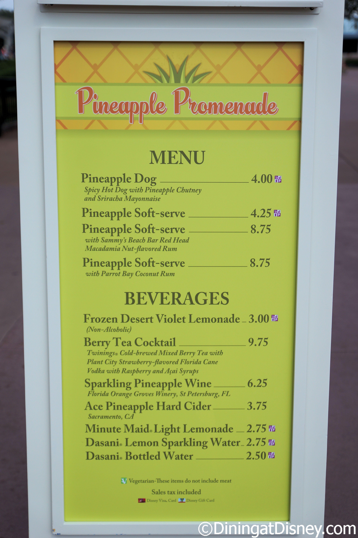 the pineapple promenade menu at the 2015 epcot flower and garden festival - Yummy Garden Menu