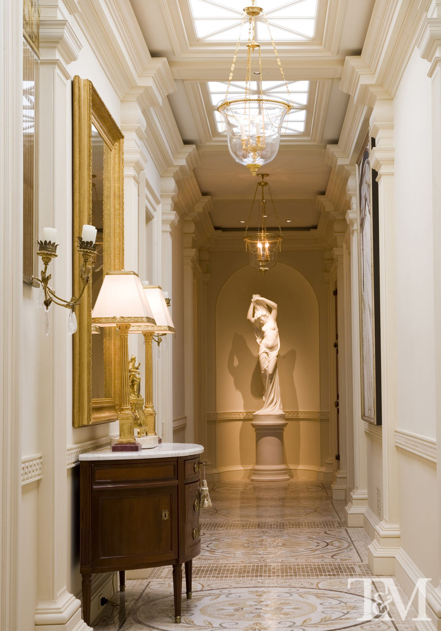 Very Traditional And French Empire Hallway With An Elegant Chandelier Mosaic Granite Flooring They Don T Get Much Nicer Than This