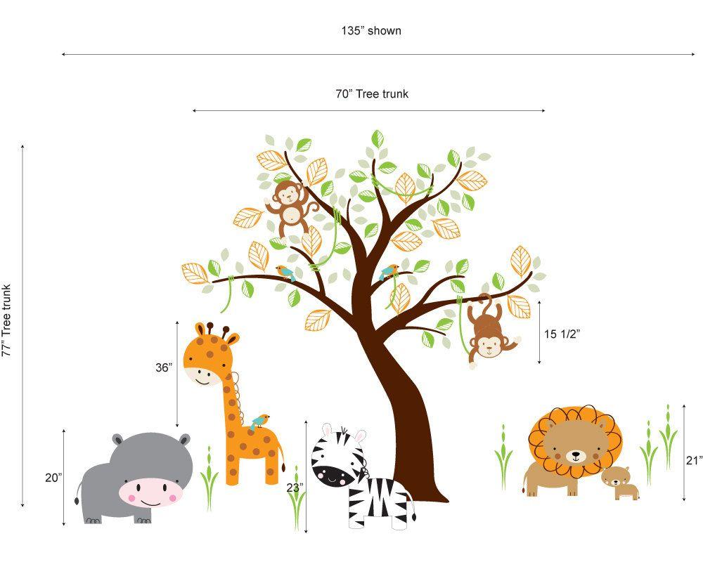 Jungle Safari Animal Wall decal and Monkey Tree Decal Nursery Wall Vinyl. $140.00, via Etsy.