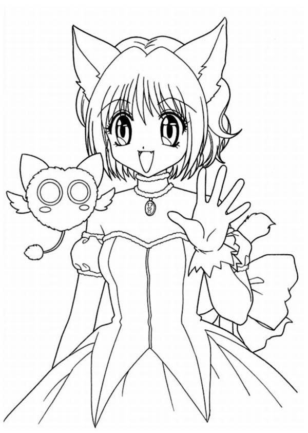 Anime Girl as Neko Coloring Page - Free & Printable Coloring Pages ...