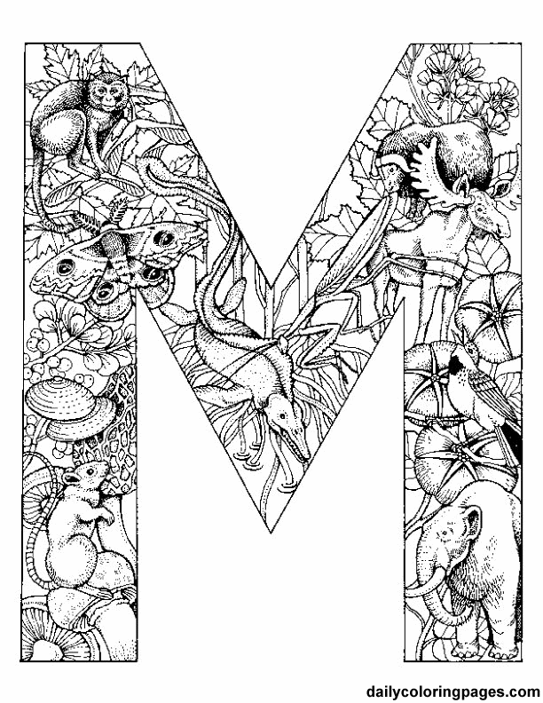 Free Printable Colouring Initials Each Initial Is Filled With Rhpinterest: Daily Coloring Pages Alphabet Letters Print Challenging Animal At Baymontmadison.com