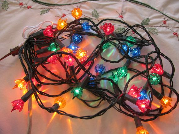 Vintage 1960s Flower Mini Christmas Lights 35 Bulb Set String ...