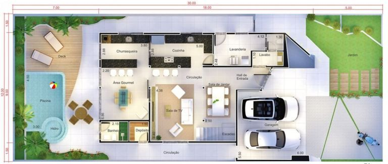 Modern Home Design 12x30 Meters 3 Bedrooms