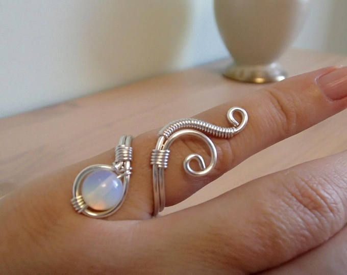 Photo of Adjustable wire Ring, Silver Ring, Swirl Ring, Malachite Ring, Moonstone Ring, T…