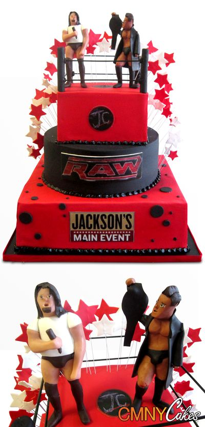 Wwe Raw Wrestling Bar Mitzvah Cake Wwe Birthday Party