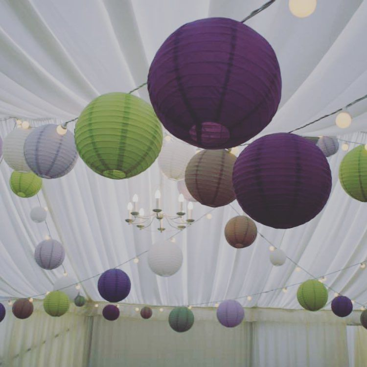 Strings Of Paper Lanterns In A Mixture Shades Above The Dance Area Marquee Weddingmarquee Wedding Decorations