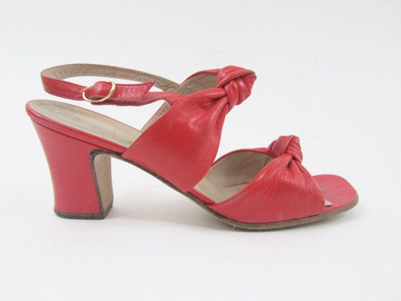 88c477b66a5ec 1940s 1960s Shoes - Peep Toe Cuban Heels in Tomato Red Leather ...