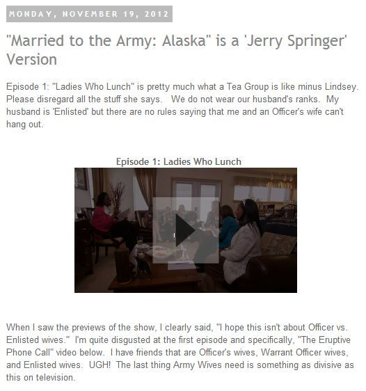 """Married to the Army: Alaska"" is a 'Jerry Springer' Version  Click the link or picture to view the entire blog http://armywivesclub.blogspot.com/2012/11/married-to-army-alaska-is-jerry.html"