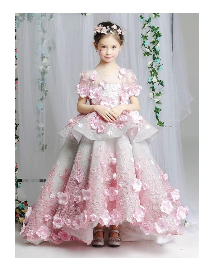 949d772a6 Buy Online Girly Shop Beautiful & Elegant Pink Flower Applique Tiered Short  Sleeve Junior Bridesmaid Gown With Short Train (3-14 Years).