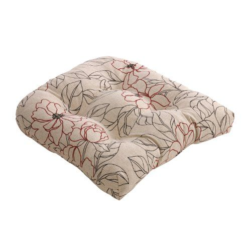 Pillow Perfect Red/Beige Floral Chair Cushion Pillow Perfect Http://www.