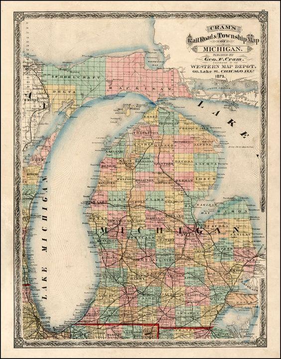 Old Maps Of Bay City Michigan Map Of Michigan 1875 Barry Lawrence Ruderman Antique Maps Inc Map Of Michigan Map Michigan