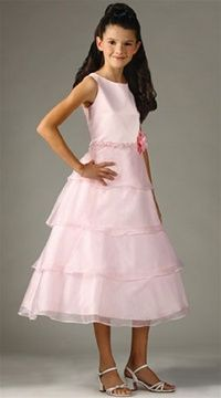 Pink Sheer Organza Tiered Skirt Girl's Dress -
