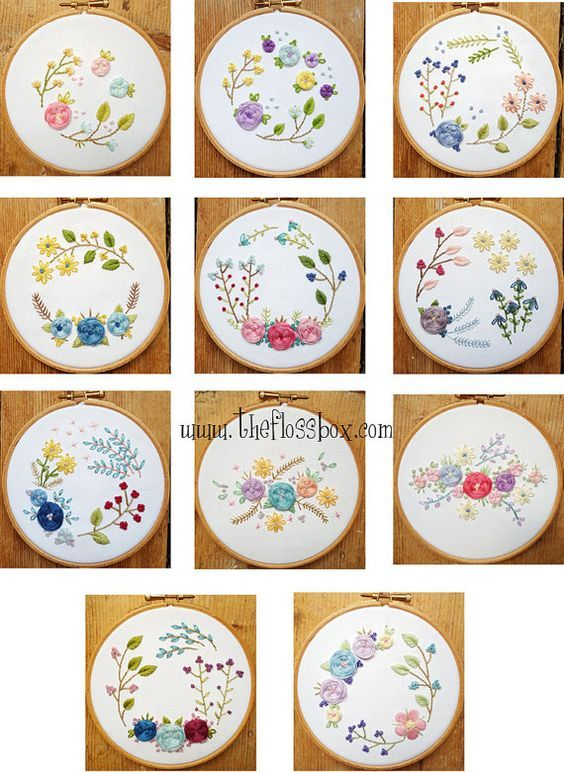 Floral Woven Wheels Embroidery Pattern Pack Bordados Mo