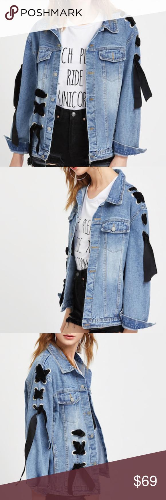 Hp Black Velvet Lace Up Denim Jacket Boutique Denim Decor Denim Jacket Classic Denim Jacket