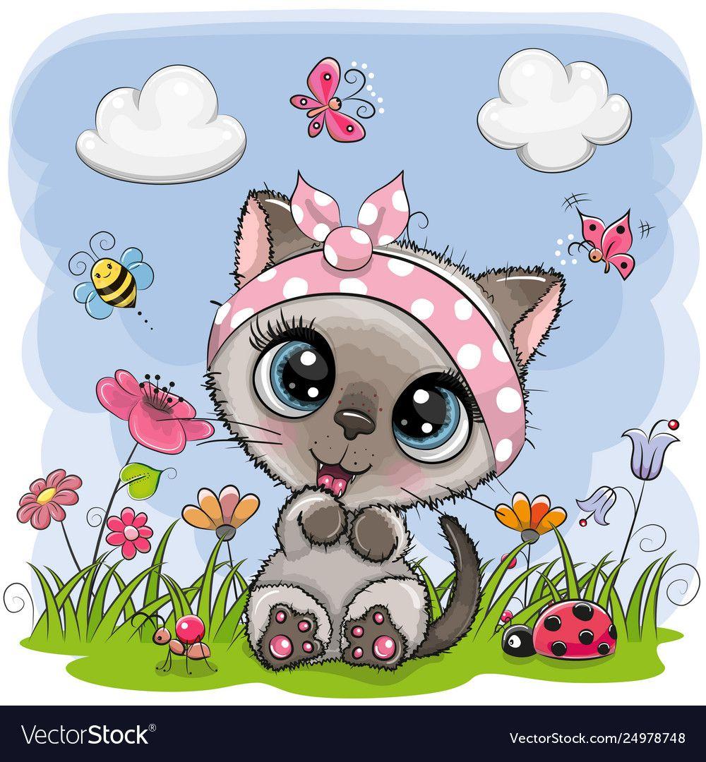 Cute cartoon kitten girl on a meadow vector image on in