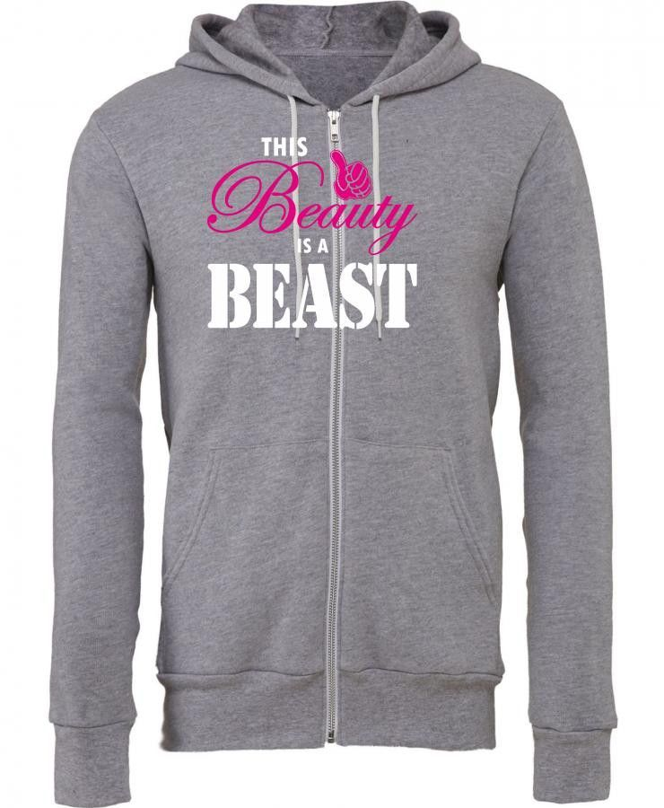 this beauty is a beast white and pink Zipper Hoodie
