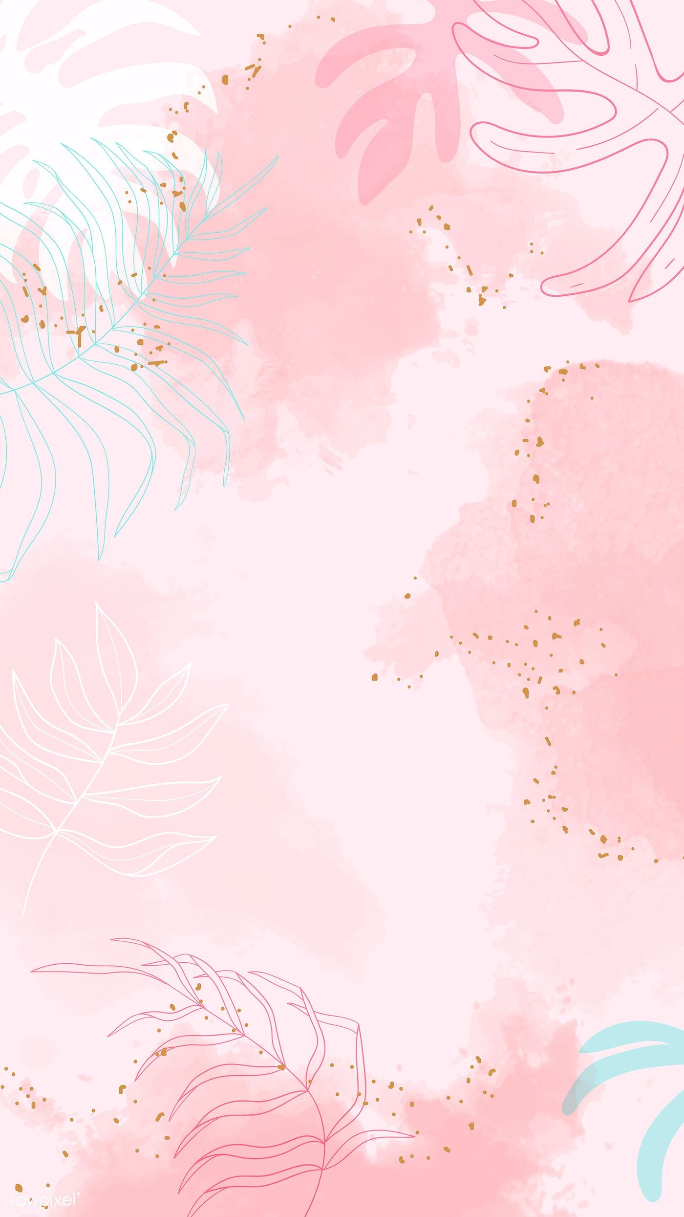 Download Premium Vector Of Beige Leafy Watercolor Mobile Phone Wallpaper Floral Watercolor Background Pink Wallpaper Backgrounds Watercolor Background