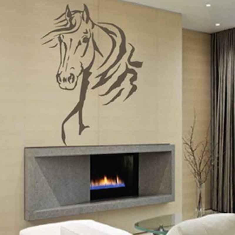 Pas cher tête de cheval animal enfants parc bébé art mural sticker mural en vinyle lettrage citer décalque décor vivant chambre décoration à la maison
