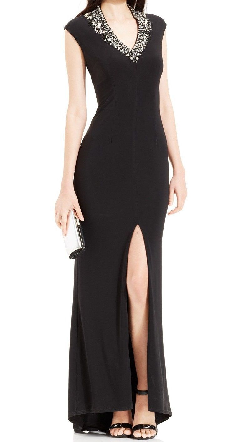Cool awesome vince camuto new black womenus size slit embellished