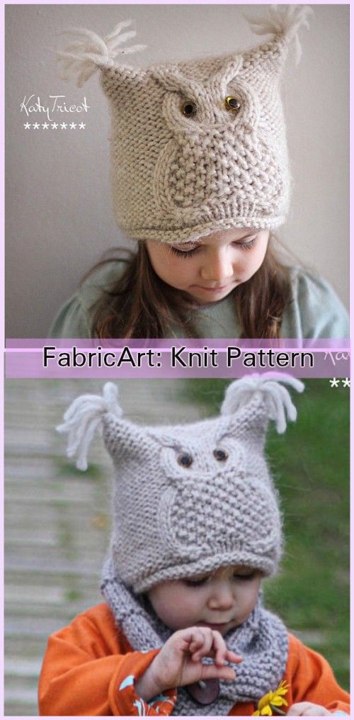 Knit Kids Owl Hat Patterns Knitting Pinterest Knitting