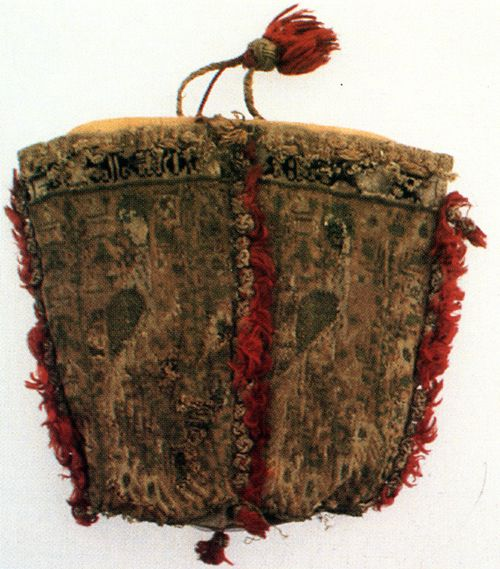 Sens Pouch: Provenance: 13th Century  Fiber: black, white, dark and light brown, slate blue, dark slate blue, red silk and gold thread  Gauge: Maybe 10-12 stitches per inch