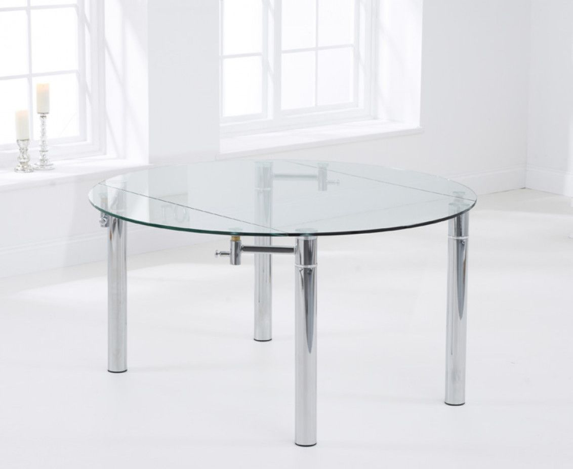 Melbourne 145cm Round Gl Extending Dining Table The Great Furniture Trading Company