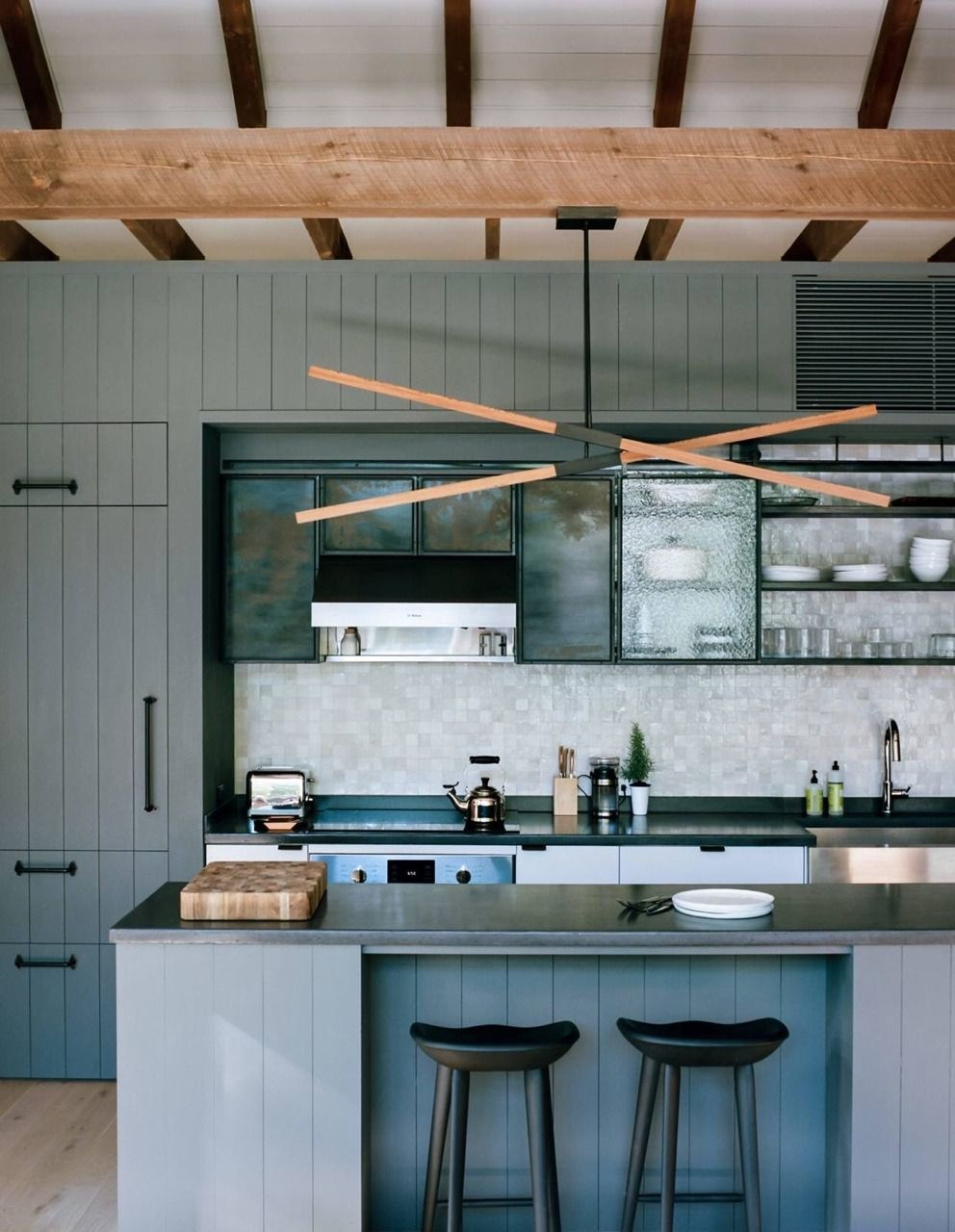 Textured glass doors, vertical shiplap, blue and gray colors and ...