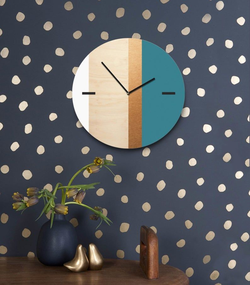 Scandi Wall Clock With Golden Strip Wooden Minimalist Wall Decor Turquoise White And Golden Colors Large