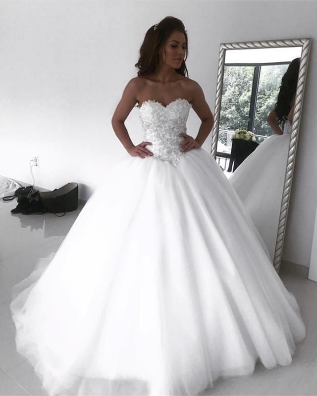 Lace Embroidery Sweetheart Floor Length Ball Gown Wedding Dresses