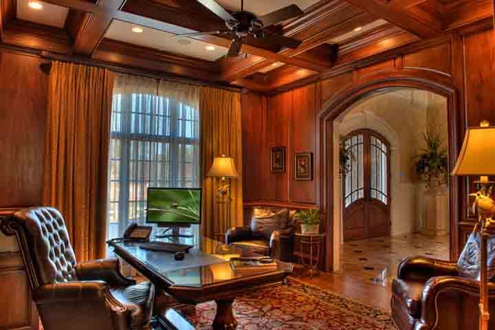 Old World Style Office Masculine Home Offices Traditional Home