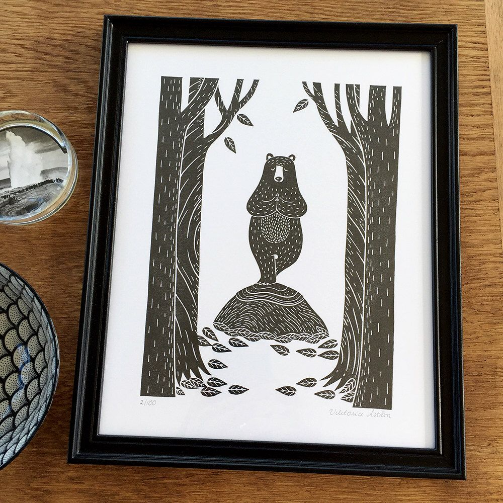 Yoga bear in the forrest- handmade original, handprinted by ViktoriaAstrom on Etsy https://www.etsy.com/listing/459163342/yoga-bear-in-the-forrest-handmade