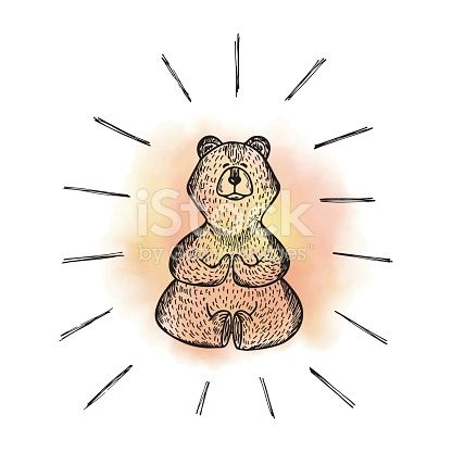 yoga lotus position wild animal hand drawn doodle bear