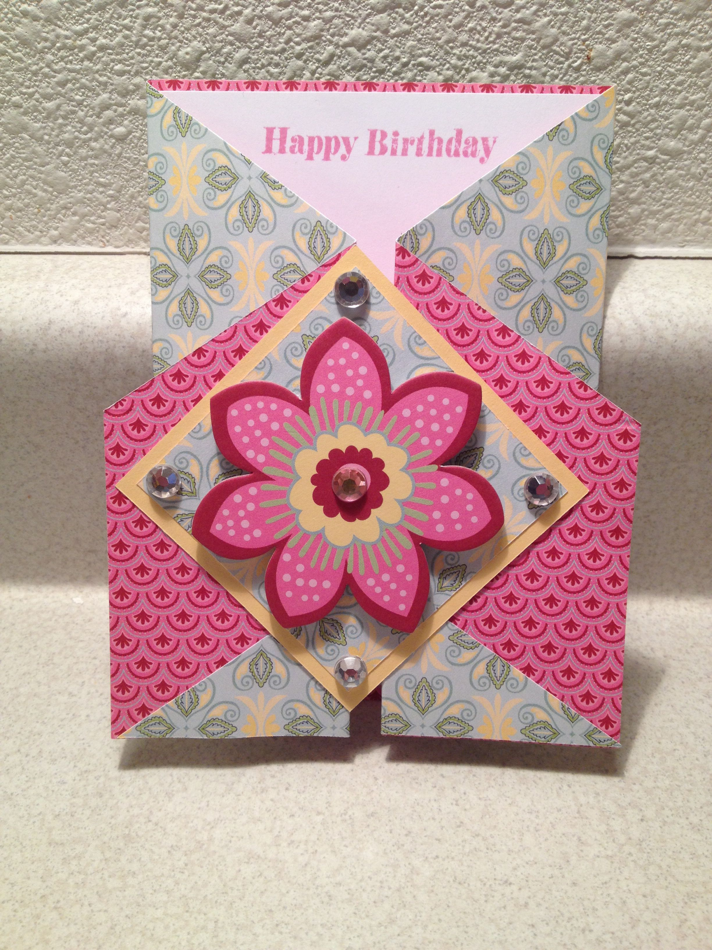 Gate fold birthday card I made with chant illy paper pack