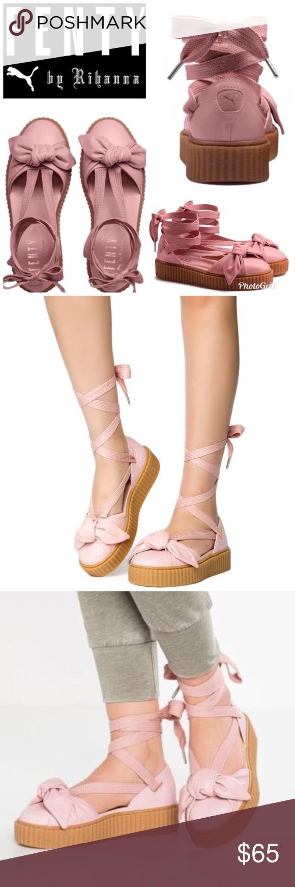 af62b2e4a6bf Puma Fenty Bow Creeper NWT. No Box. Rihanna Fenty Puma Creepers Lace Up  Tie  Up Sandals. Sneakers. Espadrilles. Platform soles. Pink   Blush Color. Puma  ...