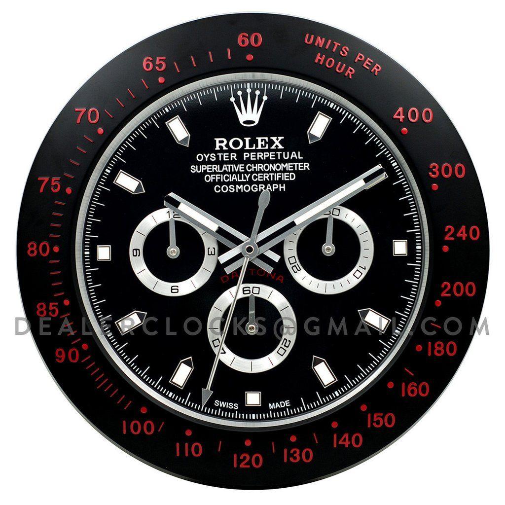 Xxl Rolex Daytona Series Wall Clock Black Dlc Red Markers Dealer Clocks アップルウォッチ ロレックス 時計 時計