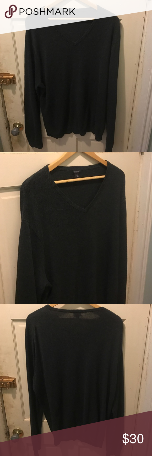 V-neck sweater black J. Crew size XL Nice sweater width 24 inches ...