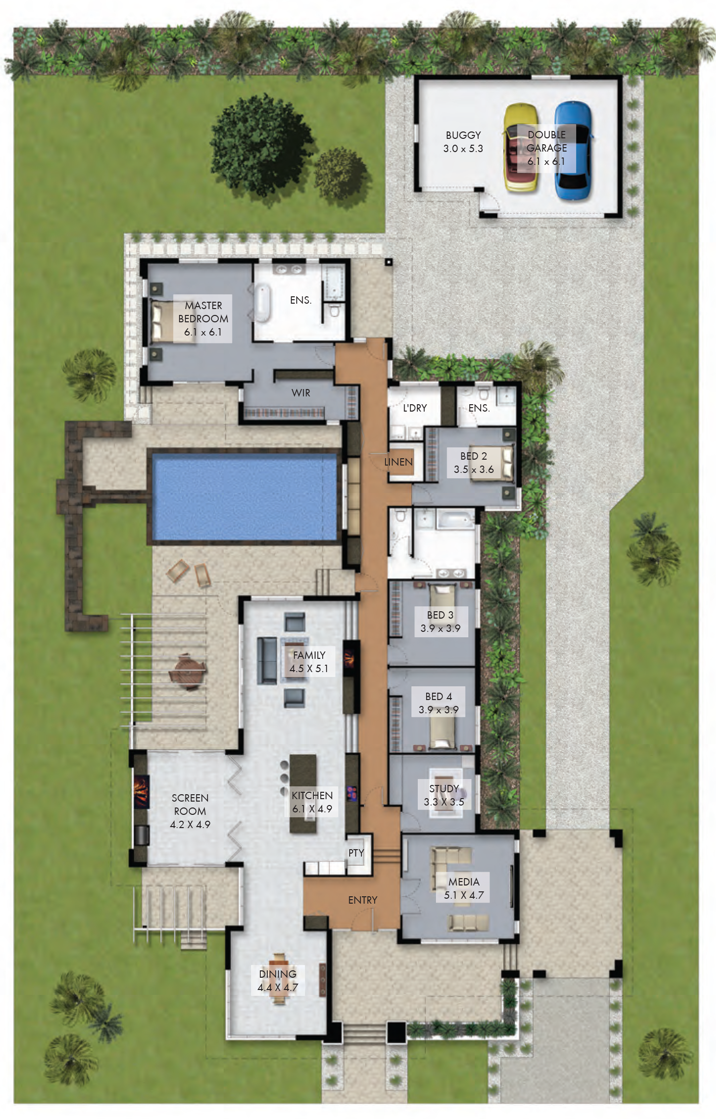 Floor Plan Friday Luxury 4 Bedroom Family Home With Pool Pool House Plans Luxury House Plans Dream House Plans