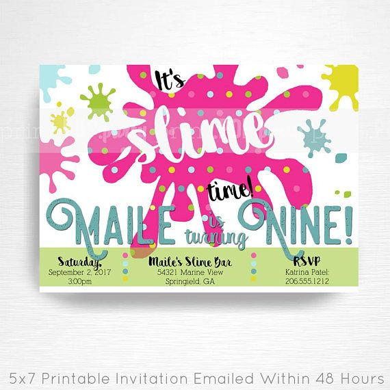 Slime Birthday Party Printable Invitation YOU Print Bright Rainbow Foam Beads