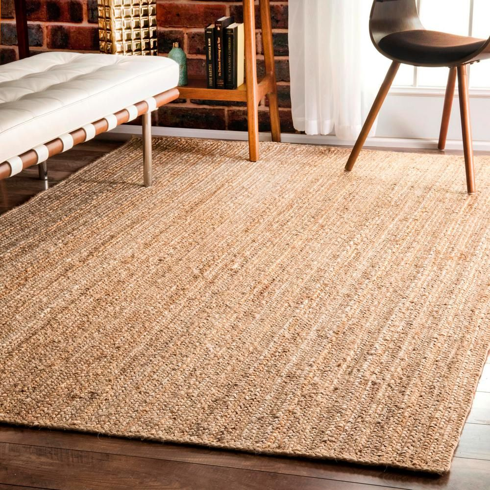 Nuloom Rigo Jute Natural 9 Ft X 12 Ft Area Rug Tajt03 9012 The Home Depot Natural Jute Rug Solid Area Rugs Jute Area Rugs