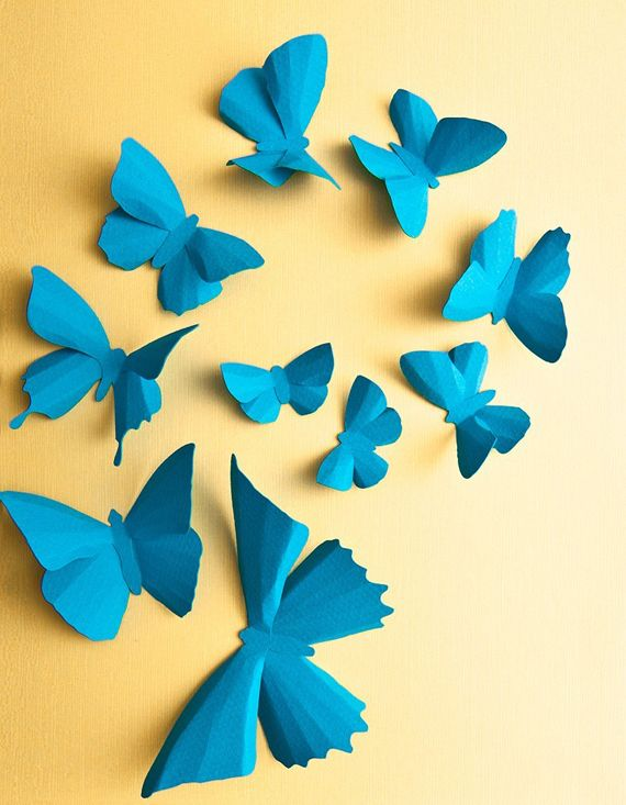 Blue Turquoise Butterfly Wall Art, 3D Wall Decor, Blue Nursery Decor ...