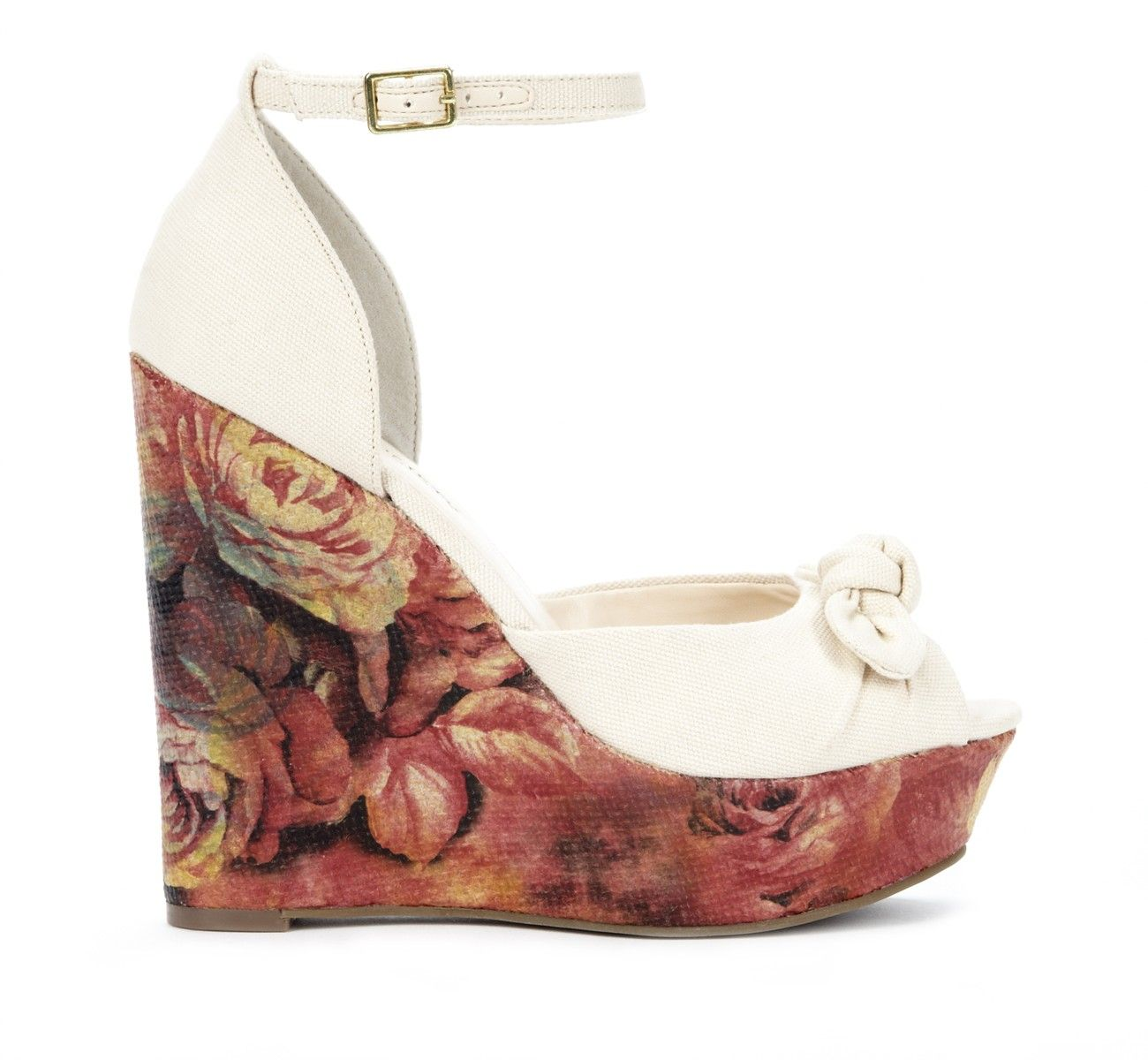 I Love The Idea Of A Floral Print On Wedges Teamed With Whitecream