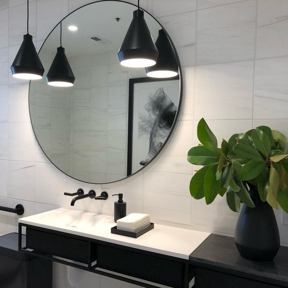 Flanking A Bathroom Vanity Mirror With Light Is A Great Idea To Combat Shadows And Using Mini Modern Bathroom Lighting Round Mirror Bathroom Bathroom Interior