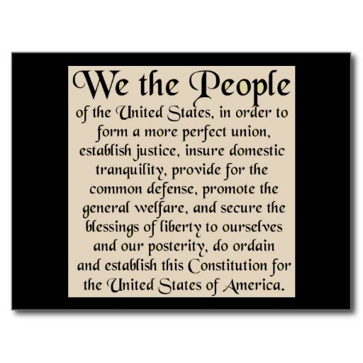 picture regarding Preamble Printable called Preamble toward The Consution of the United Claims Postcard